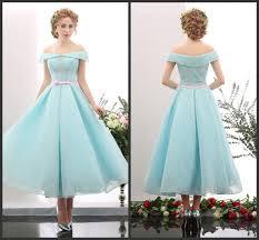 elegeant mint green off shoulder ribbon dresses prom ankle