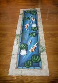 Fish Runner Rug Mid Century Modern Floorcloth Rug Beautifully Painted