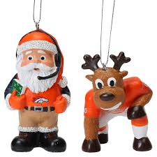denver broncos reindeer santa 2 pack ornament set