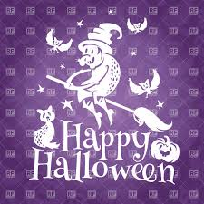 happy halloween greeting card with old ugly witch vector image
