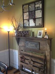 old fireplace mantle and old pallet decoupage picture from