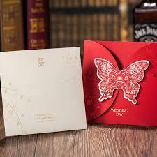 Red Wedding Invitations Aliexpress Com Buy Red Wedding Invitations Cards With Butterfly