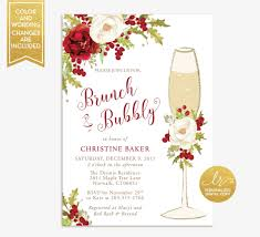 christmas brunch invitations winter brunch and bubbly bridal shower invitation