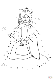 queen dot to dot free printable coloring pages