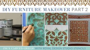 diy furniture makeover part 2 how to stencil a faux carved grille