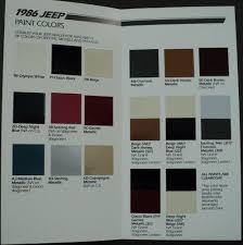 jeep paint color chips brochure