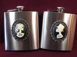 and groom flasks flask and groom cameos wedding gift mens