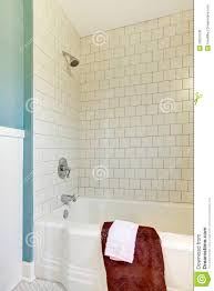 Blue And White Bathroom Tile Shower Tub White Classic Tile And Blue Wall Stock Photo Image