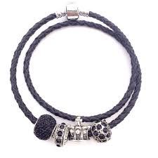 leather bracelet silver charms images Double layer leather bracelet with 925 silver charm gear delight jpg