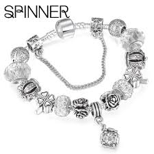 black silver pandora bracelet images Beautiful european spinner style vintage silver plated crystal jpg