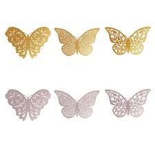 12pcs lot metal texture hollow butterfly design wall stickers 3d