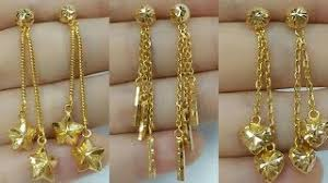 gold earrings design with weight light weight gold dangling earrings designs vidozee