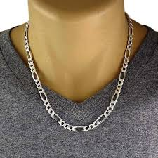 mens figaro chain necklace images Men 39 s 925 sterling silver figaro chain necklace 180 gauge 7 mm jpg