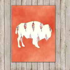 8x10 buffalo art print bison printable art tribal wild game