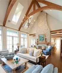 vaulted living room large mountain style living room photo in
