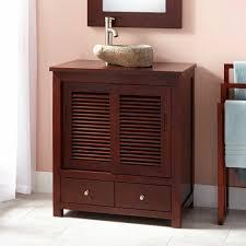 Small Depth Bathroom Vanities Dark Wood Narrow Depth Bathroom Vanity With Sliding Shutter Doors