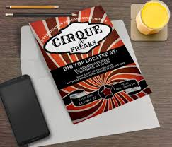 cirque du freaks printable halloween party invitation