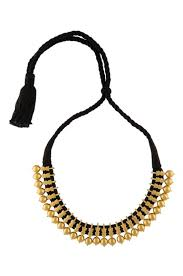 black necklace with gold images Silver gold plated black thread kerala necklace jpg