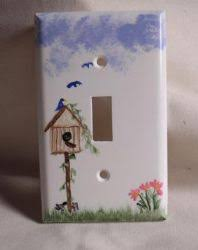 painted light switch covers hand painted plastic white switch cover with a bird house and flowers