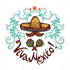 mexico concept with sketch sombrero maracas and floral ornament