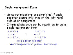 Assignment Form Cs 536 Spring Intermediate Code Local Optimizations Lecture Ppt