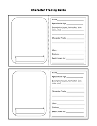 character trading card trading cards worksheets and