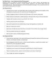 Sample Brand Ambassador Resume Sports Marketing Brand Ambassador Job Description Resume Http