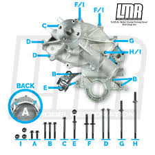 mustang 302 351 timing cover and water pump hardware placement