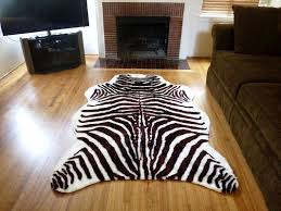 decoration interesting plush brown and white faux zebra skin rug