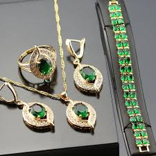 green color necklace set images Green created emerald jewelry set for women gold color crystal jpg