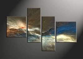 Contemporary Art Home Decor 4 Piece Colorful Abstract Multi Panel Canvas