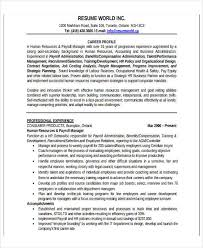 Hr Resume Format For Freshers 5 Hr Fresher Resume Template 5 Free Word Pdf Format Download