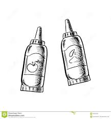 ketchup and mustard bottles sketch icons stock vector image