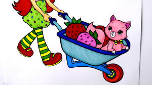 coloring pages strawberry shortcake and pet on wheelbarrow