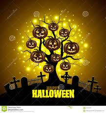 free halloween vector background magic tree with pumpkins halloween background stock vector image