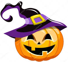 cartoon halloween pumpkin wearing witch hat isolated u2014 stock
