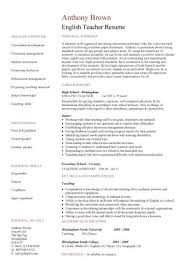Teaching Resume Example by English Teacher Resume Template Cv Examples Teaching Academic