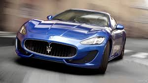 chrome blue maserati sports car maserati street car