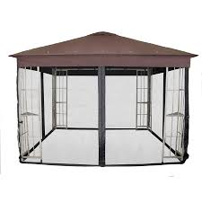 Patio Gazebos by Shop Garden Treasures Black Gazebo Insect Net At Lowes Com