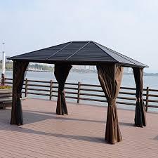 outsunny 12 u0027 x 10 u0027 steel hardtop outdoor gazebo with curtains