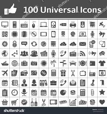 100 universal icons simplus series each stock vector 125624576