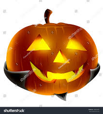 halloween pumpkin vampire concept illustration glowing stock