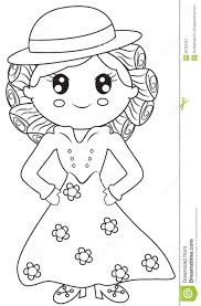 lady in a dress coloring page stock illustration image 50763357