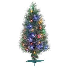 Christmas Tree With Optical Fiber Lights - 3 u0027 pre lit led artificial christmas tree fiber optic