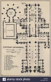 lincoln cathedral floor plan lincolnshire 1939 vintage map stock