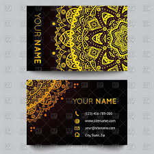 luxury business card template with golden floral ornament vector