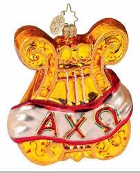 christopher radko alpha chi omega lyre ornament fraternity