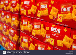 cheez it cheese crackers on display at a costco wholesale