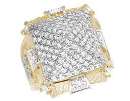 men gold rings men s real 10k yellow gold lab diamond pyramid ring 22mm