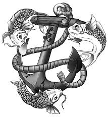 completed koi and anchor tattoo design by reiga art on deviantart